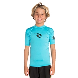 Rip Curl Short Sleeved Corpo Rash Vest - Blue