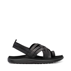 Teva Voya Strappy Leather Sandal - Black