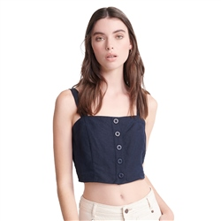 Superdry Eden Linen Top - Navy