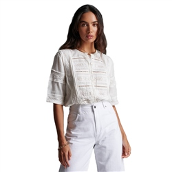 Superdry Ellison Textured Blouse - Oyster