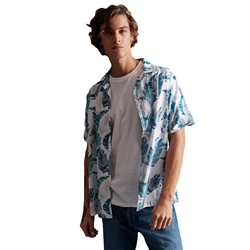 Superdry Hawaiian Box Shirt - Feather Leaf White