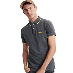 Superdry Poolside Pique Polo - Black & Grey Marl