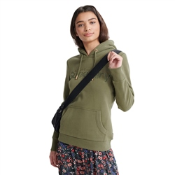 Superdry SL Satin Applique Hoody - Capulet Olive