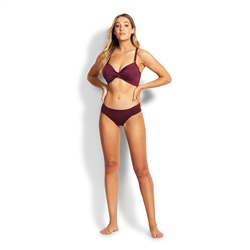 Seafolly Ruched Side Retro Bikini Bottoms - Boysenberry