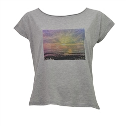 Born by the Sea Sunset T-Shirt - Grey