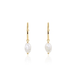 Joma Jewellery Isla Pearl Hoop Earrings - Pearl