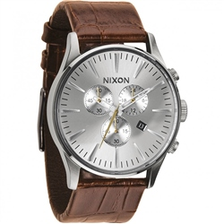 Nixon Sentry Chrono Watch - Tan & Sliver