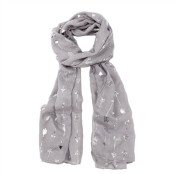 F & J Collection Foil Arrow Scarf - Light Grey