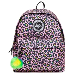 Hype Rainbow Leopard 18L Backpack - Pink & Green