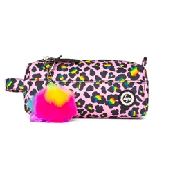 Hype Rainbow Leopard Pencil Case - Pink