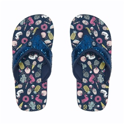 Animal Swish Glitz Flip Flop - Indigo