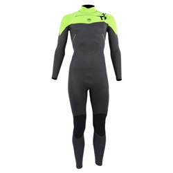 Alder Pyro Boys 4mm Chest Zip Wetsuit - Green