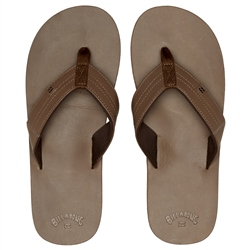Billabong Seaway Leather Flip Flops - Chocolate