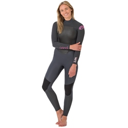 Animal Womens Lava Back Zip 5/4mm Wetsuit - Grey