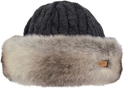 Barts Fur Cable Hat - Heather Brown