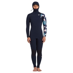 Billabong Womens Furnace Comp 5/4mm Chest Zip Hooded Wetsuit - Iris