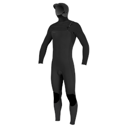 O'Neill Hyperfreak 5/4mm Hooded Chest Zip Wetsuit - Black & Black