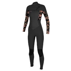 O'Neill Girls Epic 5/4mm Chest Zip Wetsuit - Black & Flower