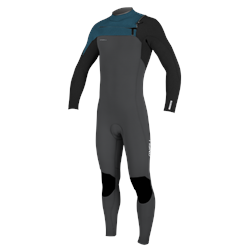 O'Neill Hyperfreak 5/4mm Chest Zip Wetsuit - Gun Metal, Black & Ultra Blue (2021)