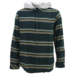 Hurley Portland Flannel Hooded Shirt - Seaweed