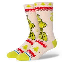 Stance Mens Grinch Sweater Socks - Canvas