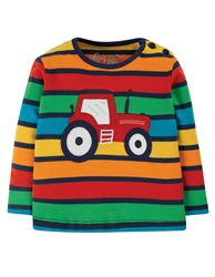 Frugi Button T-Shirt - Bumble Rainbow Stripe & Tractor