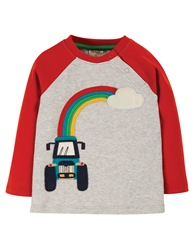 Frugi Henry T-Shirt - Grey Marl & Tractor