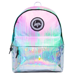 Hype Holo Drips Backpack - Light Blue & Pink