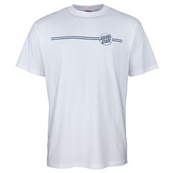 Santa Cruz Opus Dot Stripe T-Shirt - White & Navy