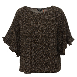 Superdry Lola Wide Top - Green Leopard