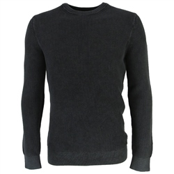 Superdry Academy Dyed Texture Jumper - Washed Carbon Black