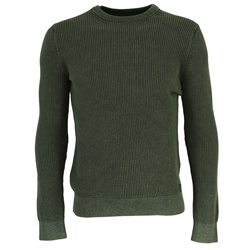 Superdry Academy Dyed Texture Jumper - Washed Dark Olive Green