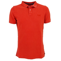Superdry Vintage Destroyed Polo Shirt - Baja Orange