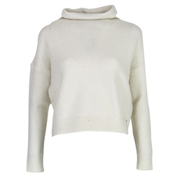 Superdry Isabella Cropped Funnel Neck Jumper - Winter White Marl
