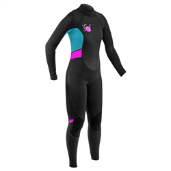 Gul Response 3/2mm Back Zip Wetsuit - Black & Cyan