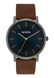 Nixon Porter Leather Watch - Gunmetal, Indigo & Brown