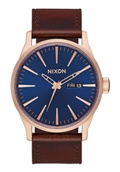 Nixon Sentry Leather Watch - Rose Gold, Navy & Brown