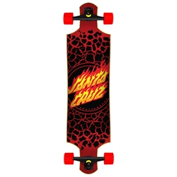 "Santa Cruz Flame Dot Drop Down 40"" Skateboard - Black & Red"