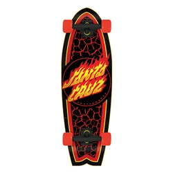 "Santa Cruz Flame Dot Shark 27.7"" Skateboard - Black & Red"