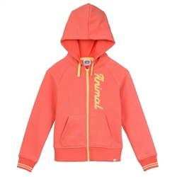 Animal College Zip Through Hoody - Melon Orange Marl