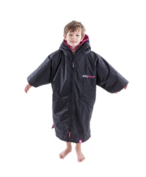 Dryrobe Extra Small Kids Advance Short Sleeved Dryrobe - Black & Pink