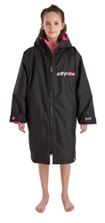 Dryrobe Small Kids Advance Long Sleeved Dryrobe - Black & Pink