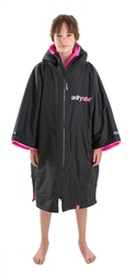 Dryrobe Small Kids Advance Short Sleeved Dryrobe - Black & Pink