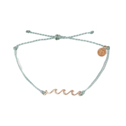 Pura Vida Delicate Wave Rose Gold Bracelet - Smoke Blue
