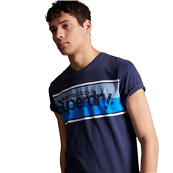 Superdry Core Logo Stripe T-Shirt - Princedom Blue Marl