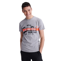Superdry Vintage Logo Cross Hatch T-Shirt - Dark Grey Grit