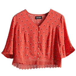 Superdry Sunny Lace Top - Red Ditsy