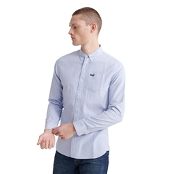 Superdry Classic University Oxford Shirt - Broken Needle Cobalt