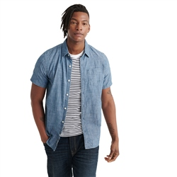 Superdry Loom Shirt - Light Wash Cross Hatch