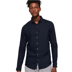 Superdry Premium Wash Linen Shirt - Thunder Navy